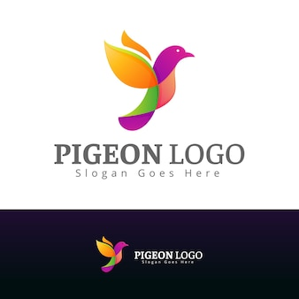 Szablon logo nowoczesny design gołębia wielokolorowego