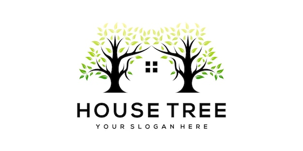 Szablon logo nowoczesny dom drzewo