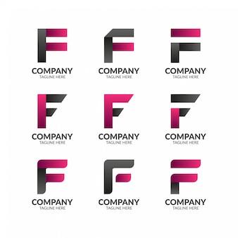 Szablon logo nowoczesny elegancki litera f.