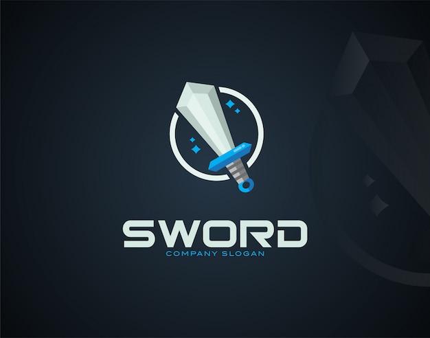 Szablon logo nowoczesny i luksusowy miecz