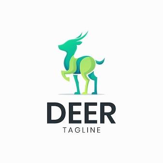 Szablon logo nowoczesny kolorowy mały jeleń