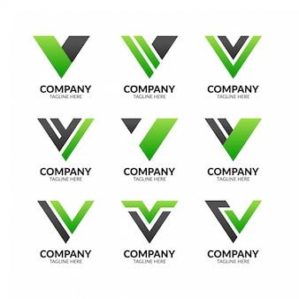 Szablon logo nowoczesny profesjonalny litera v.