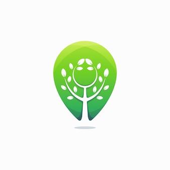 Szablon logo nowoczesny zielony pin drzewo
