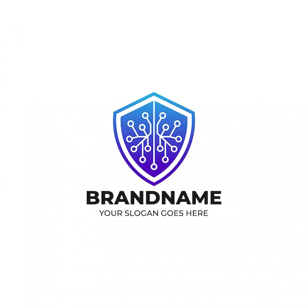 Szablon logo obrońcy systemu bezpieczeństwa blockchain