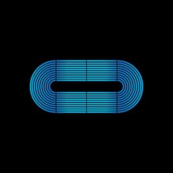 Szablon logo obwód pętli w świecące neon techno niebieski kolor