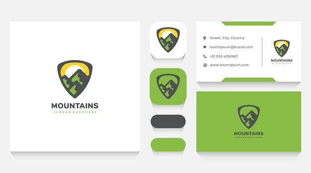 Szablon logo ochrony gór i wizytówka