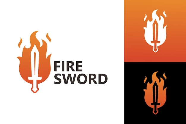 Szablon logo ognia miecz wektor premium