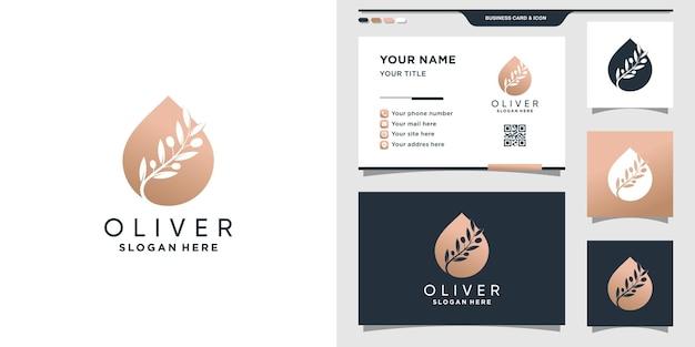 Szablon logo oliwa z oliwek z nowoczesną koncepcją i projektem wizytówek premium wektor