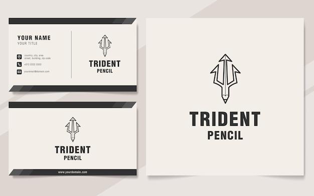 Szablon logo ołówka trójząb w stylu monogram