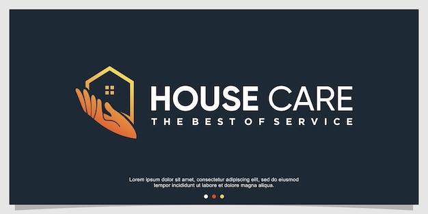 Szablon logo opieki domowej z kreatywną koncepcją premium wektor