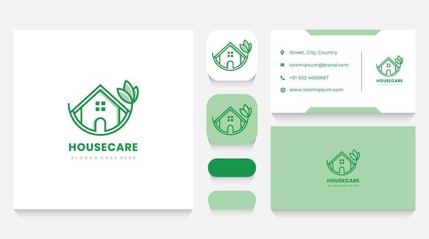 Szablon logo opieki zielonego domu i wizytówka
