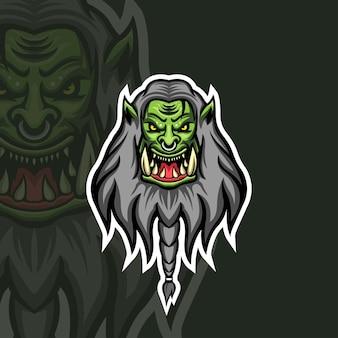 Szablon logo orc demon esport