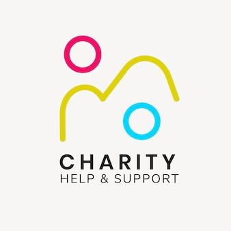 Szablon logo organizacji charytatywnej, wektor projektu marki non-profit, tekst pomocy i wsparcia