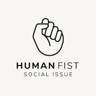 Szablon logo organizacji charytatywnej, wektor projektu marki non-profit, tekst problemu społecznego ludzkiej pięści