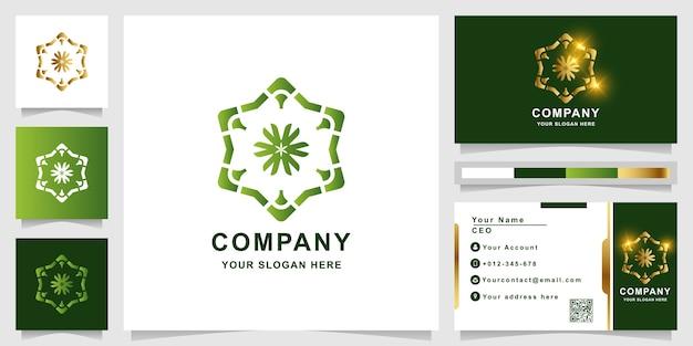 Szablon logo ornament z projektem wizytówki.