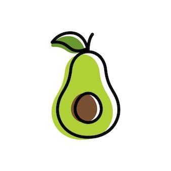 Szablon logo owoców awokado, symbole zdrowej żywności