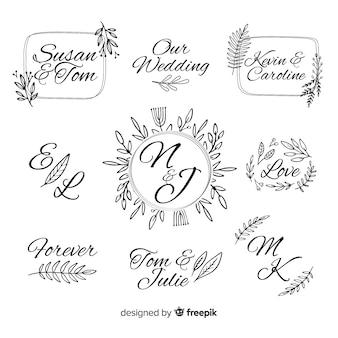 Szablon logo ozdobny ślub monogram