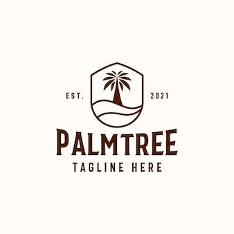 Szablon logo palmy na białym tle