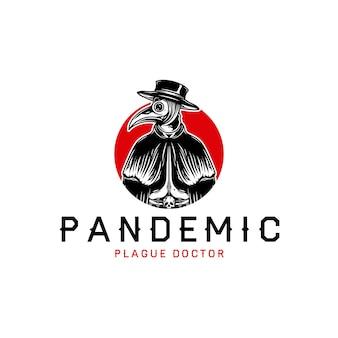 Szablon logo pandemic plague doctor