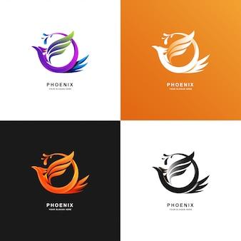Szablon logo phoenix bird z kolorem gradientu