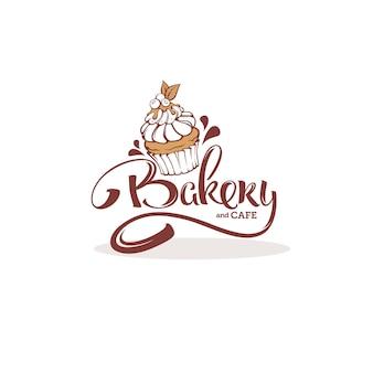 Szablon logo piekarni, z wizerunkiem babeczki i napisem