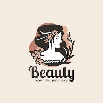 Szablon logo piękna kobieta ładny