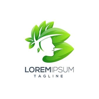 Szablon logo piękna kobieta natura zielony liść