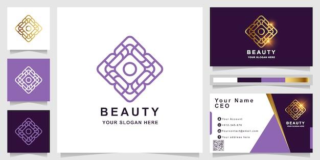 Szablon logo piękna, kwiat, butiku lub ornament z projektem wizytówki. może być używany do projektowania logo spa, salonu piękności lub butiku.