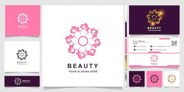 Szablon logo piękna, kwiat, butiku lub ornament z projektem wizytówki.