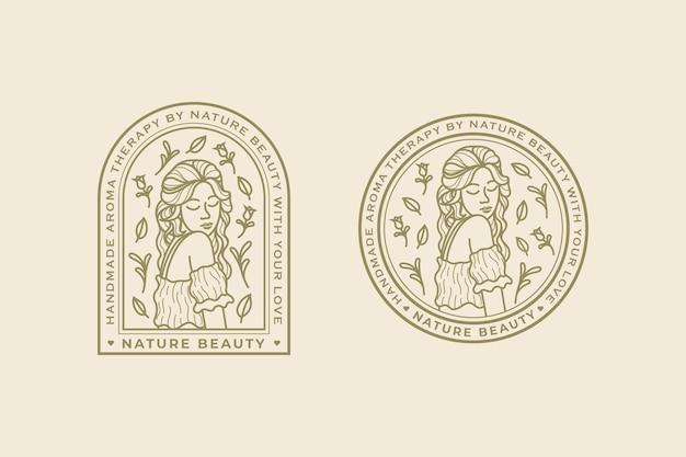 Szablon logo piękna natura kobiety vintage