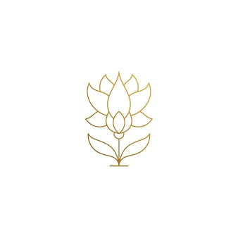 Szablon logo pięknego rosnącego kwiatu z wygiętymi łodygami
