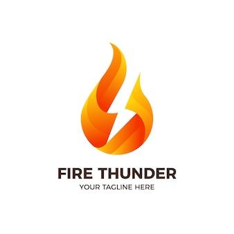 Szablon logo piorun błyskawicy płomień ognia