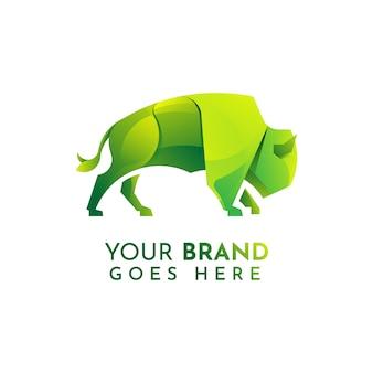 Szablon logo płaski bison