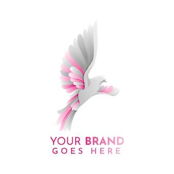 Szablon logo płaski gołąb zwierząt