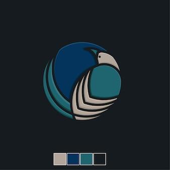 Szablon logo płaski ikona ptak