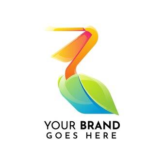 Szablon logo płaski pelikan