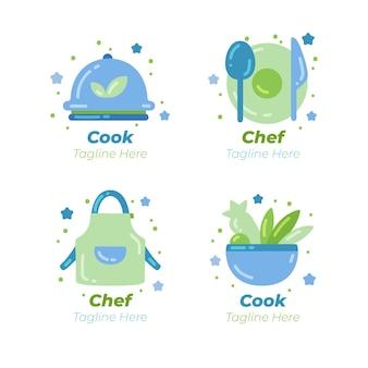 Szablon logo płaski szefa kuchni