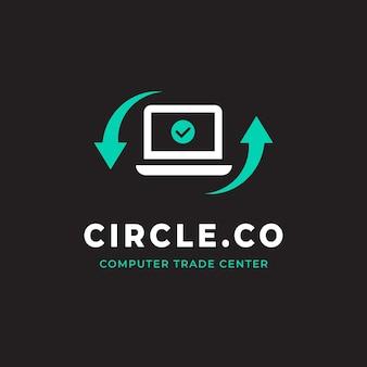 Szablon logo płaskiego komputera