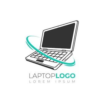 Szablon logo płaskiego laptopa