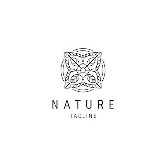 Szablon logo płaskiego stylu logo linii natury