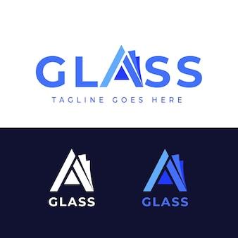 Szablon logo płaskiej konstrukcji szklanej