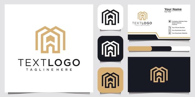 Szablon logo początkowej litery ma i wizytówka