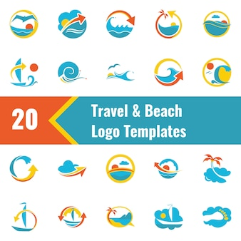 Szablon logo podróży i plaży