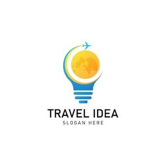 Szablon logo podróży lotniczych. logo pomysłu na podróż