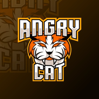 Szablon logo pomarańczowy maskotka zły kot gry