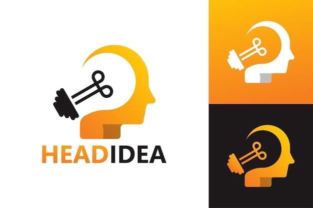 Szablon logo pomysł głowy mózgu wektor premium