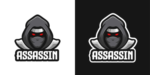 Szablon logo postaci maskotka ninja zabójca .