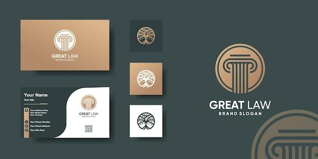 Szablon logo prawa z koncepcją kreatywną i projektem wizytówki