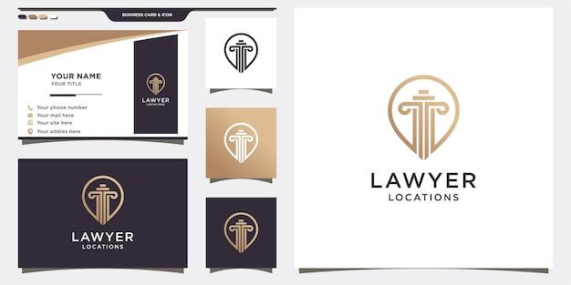 Szablon logo prawnika z koncepcją pin i projekt wizytówki