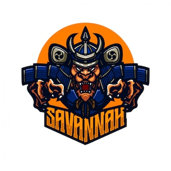 Szablon logo premium maskotka lew samuraj rycerz